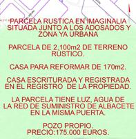 VENTA DE PARCELA RUSTICA EN IMAGINALIA  SITUADO JUNTO A LOS ADOSADOS Y ZONA URBANA  PARCELA DE 2.100M2 DE TERRENO RÚSTICO.  CASA PARA REFORMAR DE 170m2.  CASA ESCRITURADA Y REGISTRADA  EN EL REGISTRO DE LA PROPIEDAD.  LA PARCELA TIENE LUZ,  Y EL AGUA EST photo 0